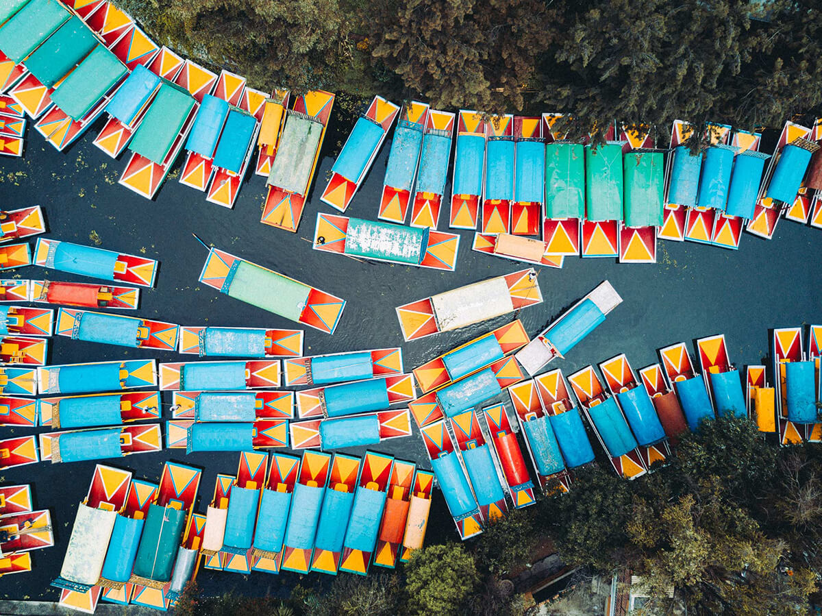 Aerial shot of colourful boats