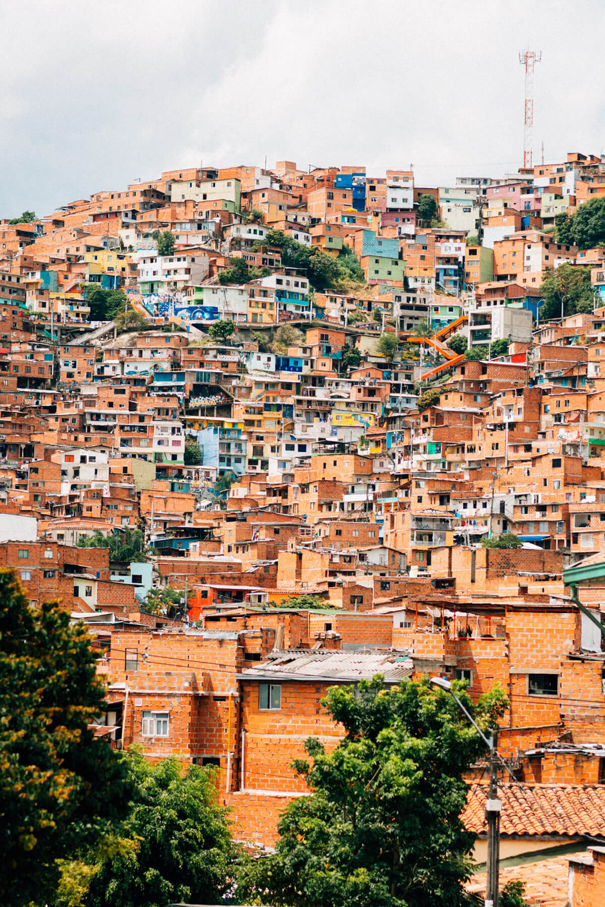 Photo overlooking housing units in Medellin, Colombia