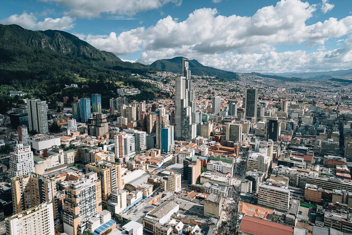 Photo of the city of urban Bogota with high rise buildings, Colombia